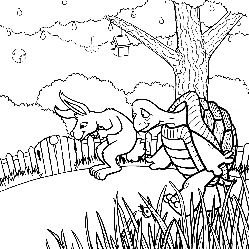 The tortoise and the hare work in progress finished for Tortoise and the hare coloring page