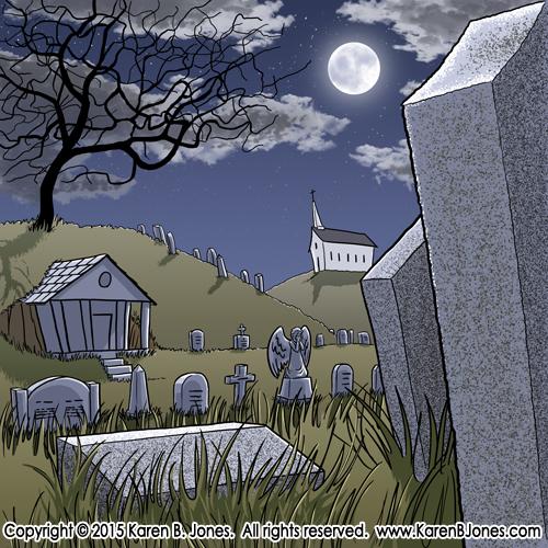 A night scene of a cemetery.
