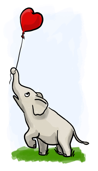 elephant with baloon 346