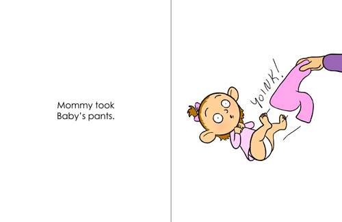 Page 12 and 13 Spread.  Picture Book Dummy.  Colors, No Shading.