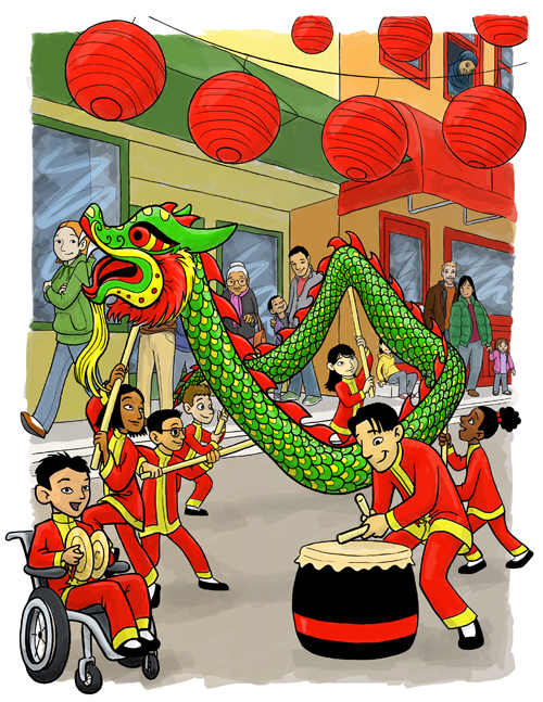 dragon dance - full scene with shading 500