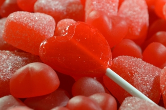 Gummy Hearts - Close Up with Sucker