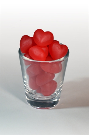 Gummi Hearts in a Shot Glass