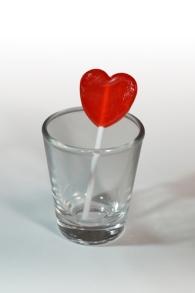 Lollipop in Shot Glass - White Background
