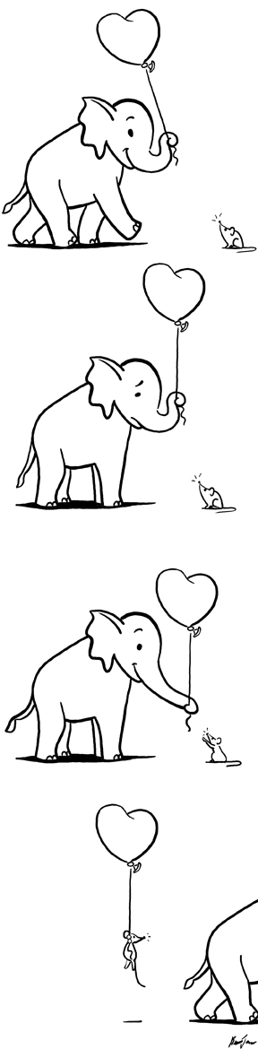 Elephant and Mouse with Balloon