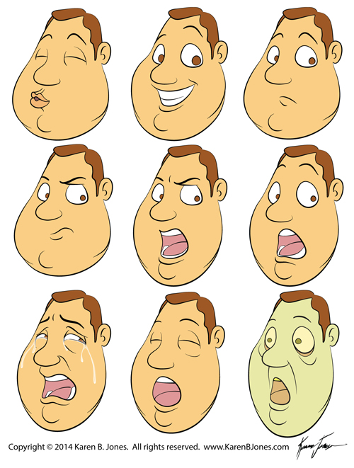 Guy's Head with Various Expressions