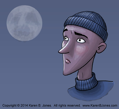 cartoon faces - man in winter hat - color 350