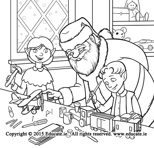 Santa inspecting toys made in his elf workshop.