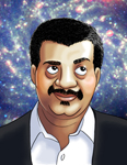 A caricature portrait of Neil deGrasse Tyson