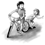 Girls with Bike and Skateboard