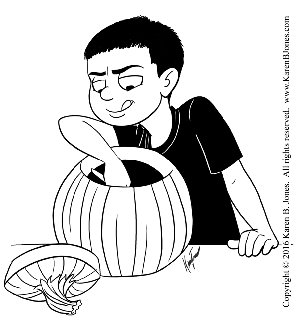 Boy Scooping Out Pumpkin