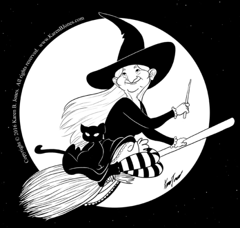 An old witch rides her broomstick with her black cat.