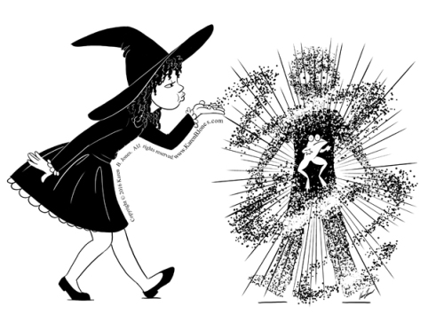 A young witch blows magic dust onto a boy to turn him into a frog.