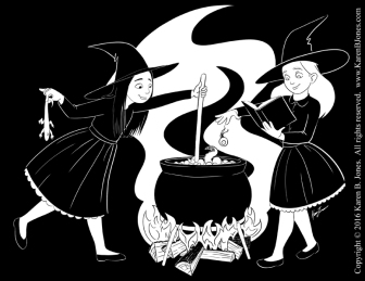 Two young witches brew a potion in a cauldron.