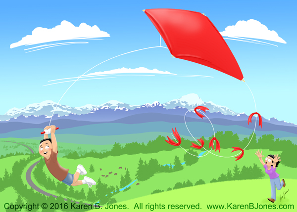 A delighted boy is carried aloft by his kite while his mother chases behind in a panic.