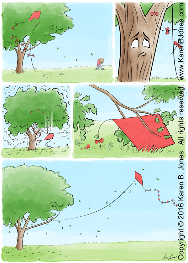 A five frame comic book page telling the story of a tree and a kite. A kite is abandoned, stuck in the limbs of a tree. The tree notices it and shakes it loose. Then it picks it up and flies it. This makes the tree happy.
