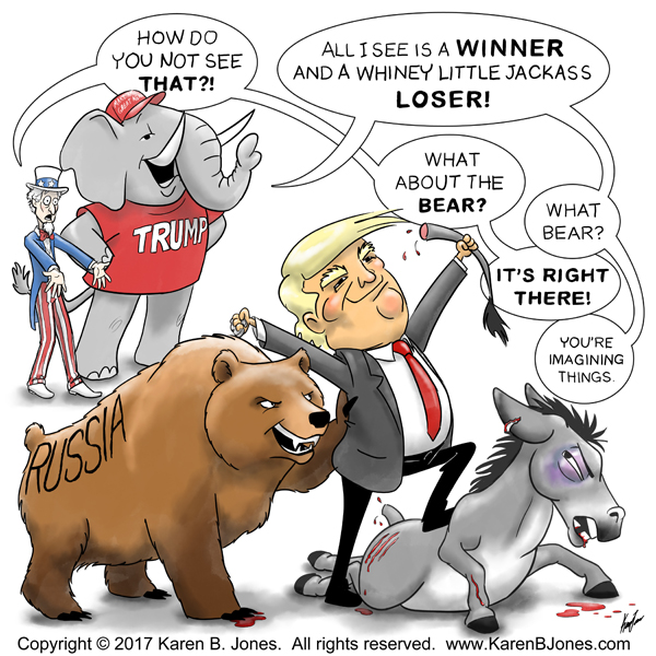 A political cartooin depicting Donald Trump standing over a thoroughly beaten and angry Democrat donkey.  Next to Trump is a Russian bear who seems to have assisted him in the beating.  Behind them, Uncle Sam (representing the government and patriotism) is astounded that a Trump-supporting Republican elephant seems to not even see the role the bear played in the fight.