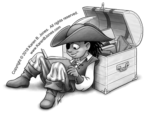 A black and white cartoon illustration of a pirate boy reading a book from a treasure chest full of books.