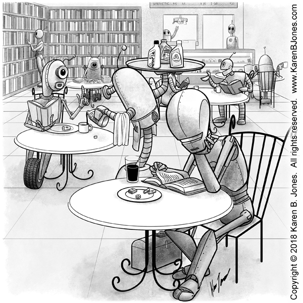 A cartoon drawing of a small crowd of robots sitting in a little bookshop cafe.