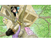 Two girls in a tree house.