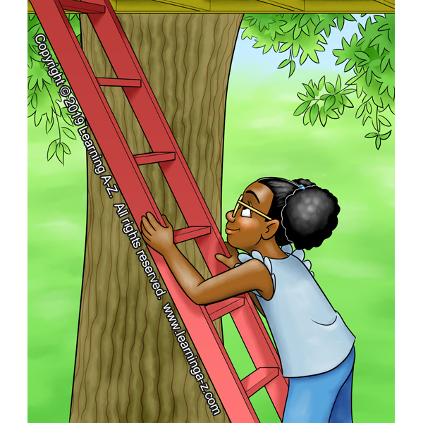 Girl climbing ladder into treehouse