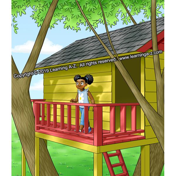 Girl walks out onto treehouse balcony