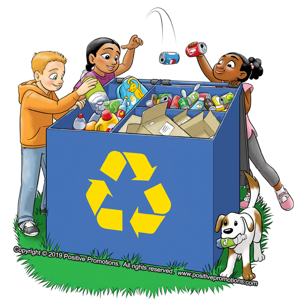 Three children toss recyclables into a divided bin