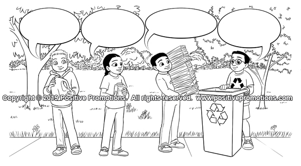 Children bring recyclables to a recycling bin