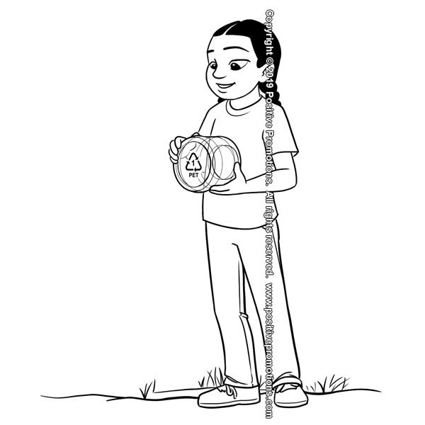 Girl holding plastic jar