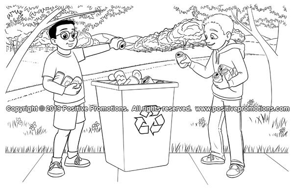 Boys tossing soda cans in a recycling bin.