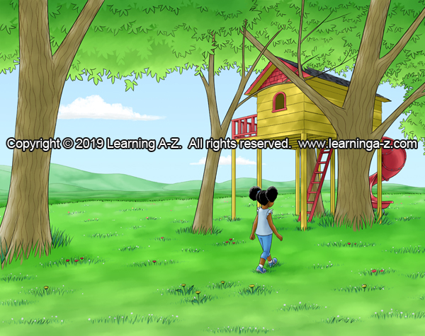 Girl walks towards treehouse.