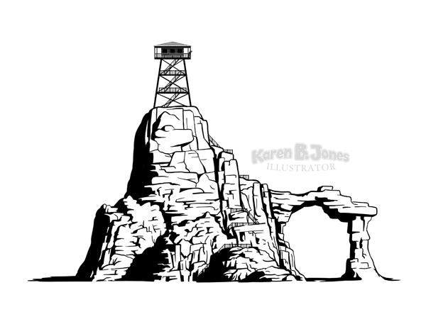 A black and white drawing of a rock formation with an arch.  On the very top is a tower.  There are lots of stairs.