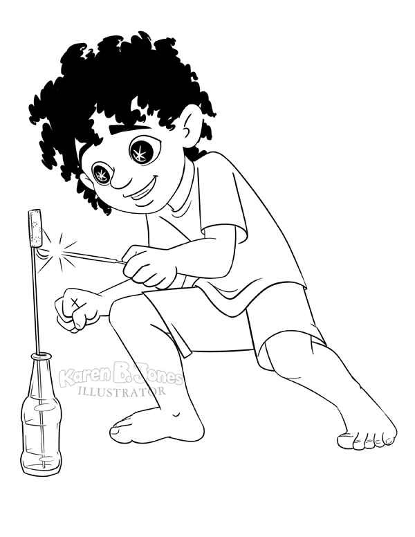 A line drawing of a boy lighting a bottle rocket.