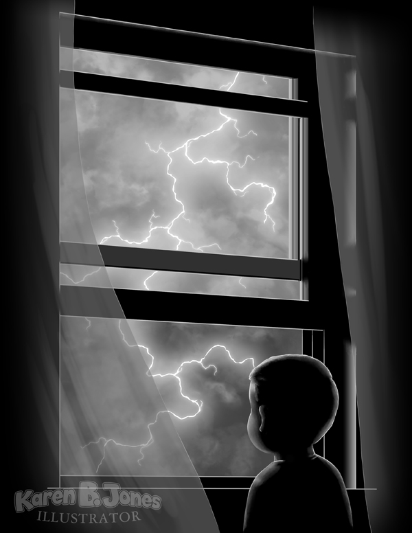 A boy standing in front of an open window at night watching a lightning storm.
