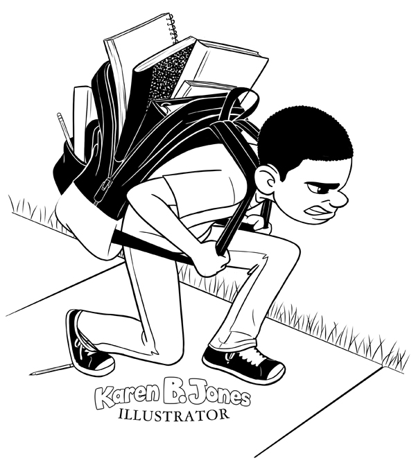 A boy shoulders a huge, bulky backpack.  It's gaping open and looks like everything's about to fall out.