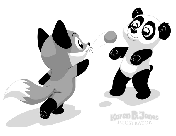 A chibi style fox and panda playing catch.