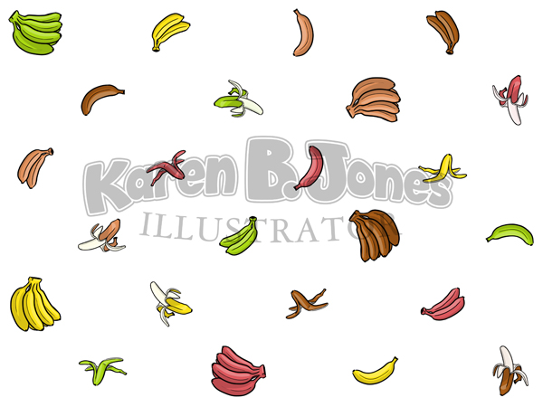 A pattern of little drawings of bananas in various colors in various orientations.