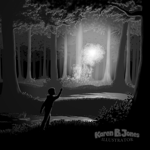 A will 'o the wisp lights up a swampy nighttime forest.  A boy is following it.