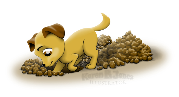 A cartoon dog digging a hole.