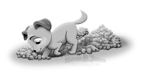 A cartoon of a puppy digging a hole in the ground.