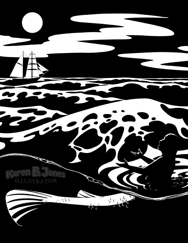 A mermaid floats in the ocean in the foreground.  Under the water, you can see her fishtail.  She is singing.  In the distance is a sailing ship.  It's nighttime and a full moon is in the sky.  The image is a black and white ink drawing.