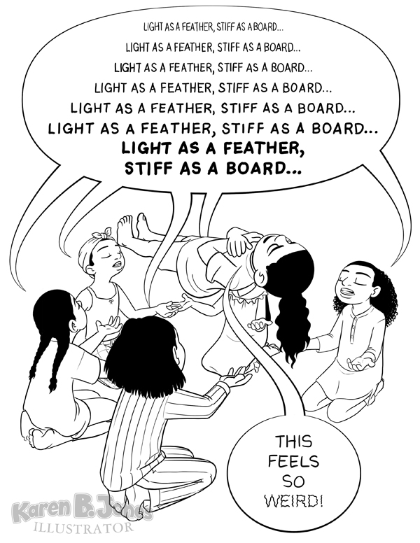 "Six girls at a slumber party play light as a feather, stiff as a board.  Only, this time it actually works!  The middle girl is levitating in the air.  The other girls are chanting while the floating girl says, ""This feels so weird!"""