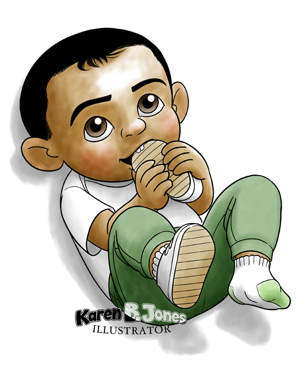 A cartoon drawing of a toddler chewing on his shoe that he pulled off his foot.  It's in color.