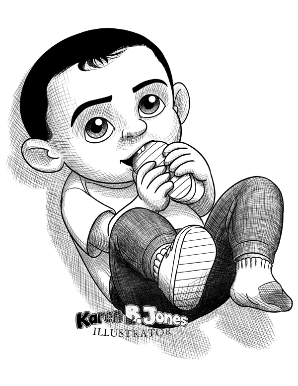 A cartoon, line drawing of a baby boy who has pulled off one of his shoes and is chewing on it.  We can see he has just two front teeth on the top.