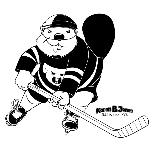 A line drawing of an anthropomorphic beaver in his hockey gear playing ice hockey.