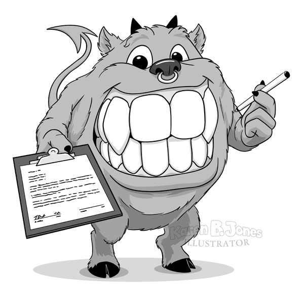 A cartoon devil holding out a pen and a clipboard with a contract on it, ready to be signed.  The devil has a huge toothy mouth, horns, hooves, and a devil tail.