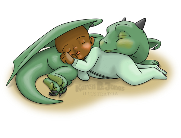 An illustration of a human toddler and a young dragon curled up around each other, asleep.  The dragon is green and the toddler is black.