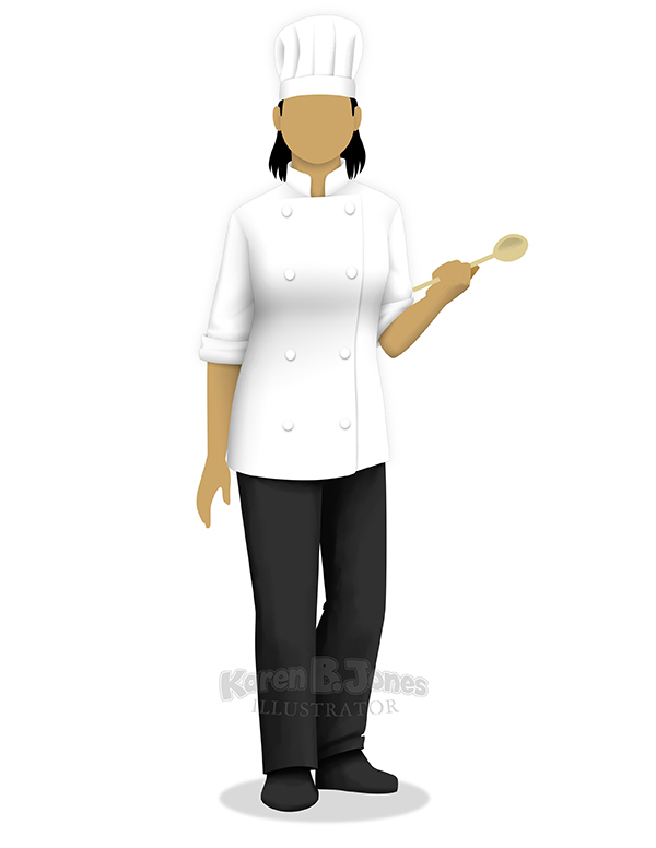 An illustration of a woman in a chef's uniform standing with a spoon in her hand.  Drawn in a simplified style without a face or detailed hands.