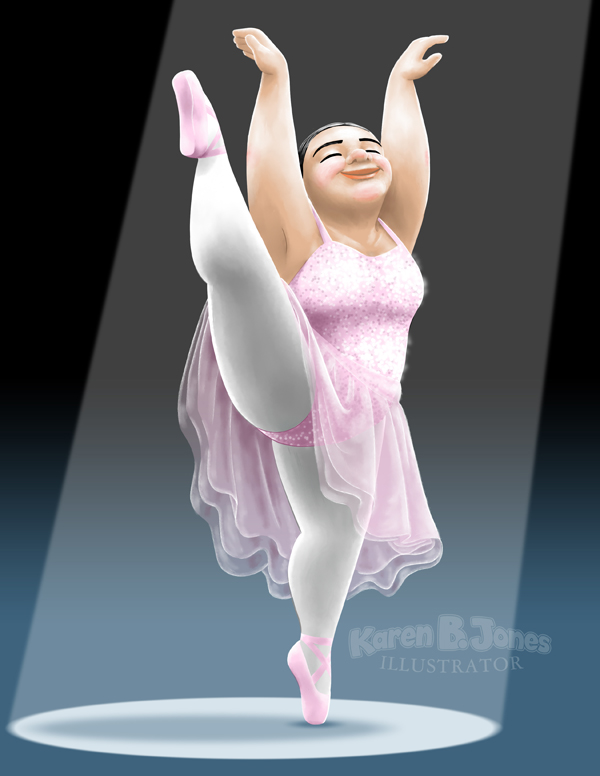 A fat ballerina stands in the spotlight, on pointe with one leg raised over her head.