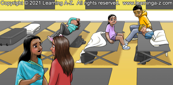 An illustration for page 11 of The Neighborhood's Night by Juliana Catherine.  The four children are sitting and lying on the cots.  Amaya is biting her lip while watching the two moms talk together.